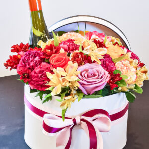 St Kitts Nevis Florist Floral Hat Box with Wine